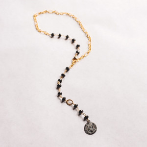 Black Spinel with Bronze Gold Pendant