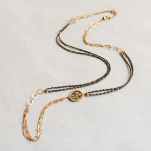 Pyrite and Gold Chain Necklace