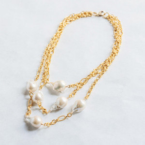 Triple Strand Gold and Baroque Pearl Necklace