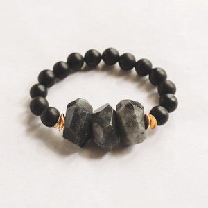 Matte Black Onyx and Labradorite Stretch Bracelet