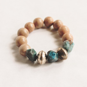 Wood and Apatite Bracelet