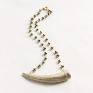 Horn on Pyrite Neckalce