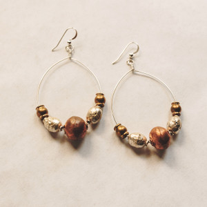 Silver Signature with African Beads Earrings
