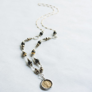 Green Tourmaline and Coin Necklace