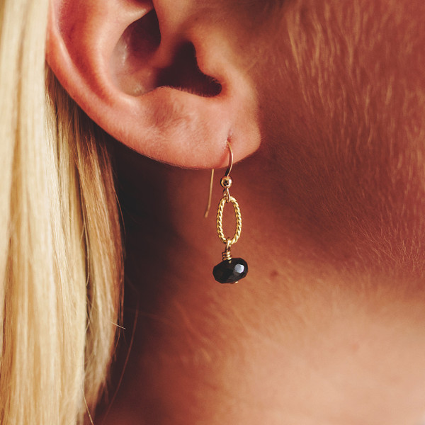 Black Spinel and Gold Earrings