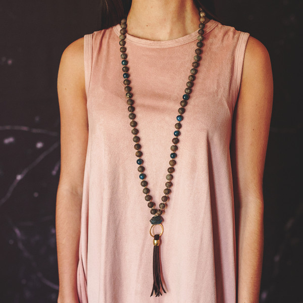 Apatite and Matte Bronzite with Leather Tassel