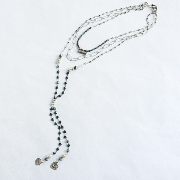 Black Spinel and Silver Necklace