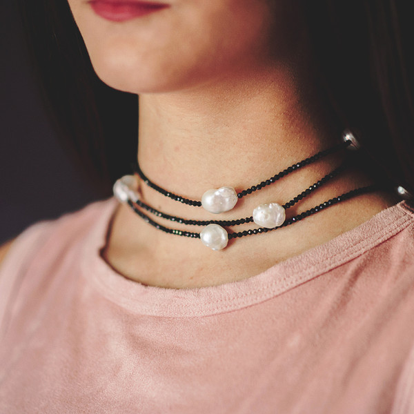 Black Spinel and Baroque Pearl Necklace