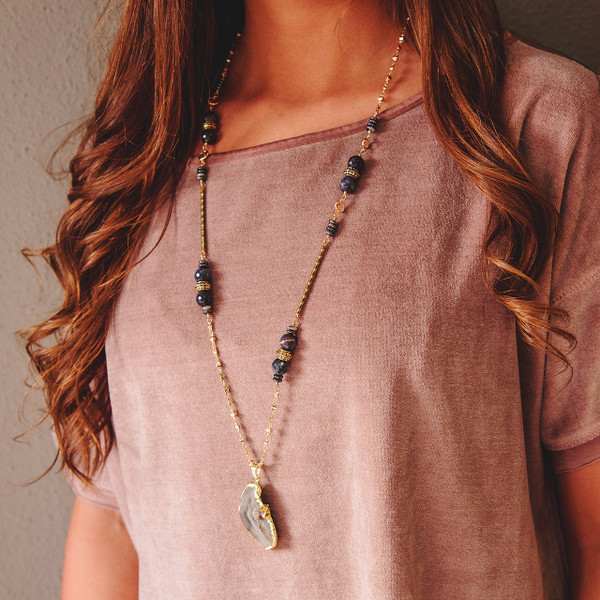 Dumortierite and Druzy Necklace