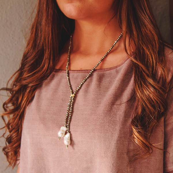 Gold Hematite and Baroque Pearl Necklace
