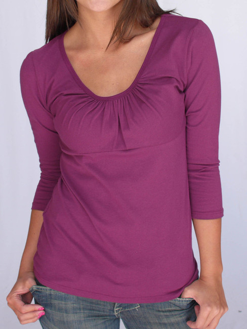Jersey Gathered Front U Neck Tee