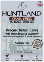 Huntland Adult Deboned Turkey Large Breed Grain Free Dog Food - 12kg