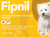 Fipnil Spot-On Flea Treatment for Small Dogs and Puppies (2-10kg) - 3 Pack