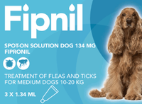 Fipnil Spot-On Flea Treatment for Medium Dogs and Puppies (10-20kg) - 3 Pack