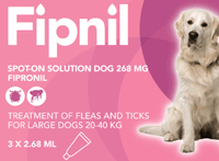 Fipnil Spot-On Flea Treatment for Large Dogs and Puppies (20-40kg) - 3 Pack