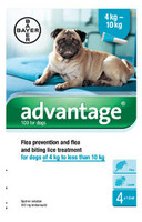 Advantage 100 Spot On Flea Drops for Medium Dogs (4-10kg) - 4Pack