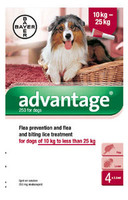Advantage 250 Spot On Flea Drops for Large Dogs (10-25kg) - 4Pack