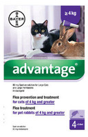 Advantage 80 Spot On Flea Drops for Large Cats and Rabbits (4kg+) - 4Pack