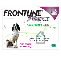 Frontline Plus Spot On Flea Drops for Large Dogs (20-40kg)- 3 Pack