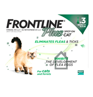 Frontline Plus Spot On Flea Drops for Cats & Ferrets -3 Pack
