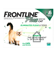 Frontline Plus Spot On Flea Drops for Cats & Ferrets - 6 Pack