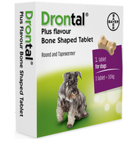 Drontal Plus Worming Bone Tablets for Dogs and Puppies (3kg+) - 1 Tablet