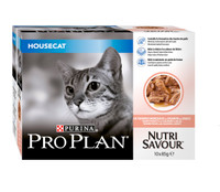 Pro Plan NutriSavour HouseCat Salmon in Gravy Cat Pouches - 10 x 85g