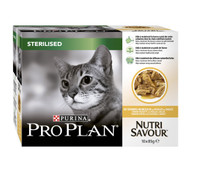 Pro Plan NutriSavour Sterilised Chicken in Gravy Cat Pouches - 10 x 85g
