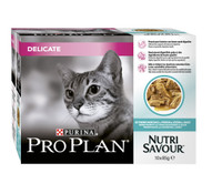 Pro Plan NutriSavour Delicate Ocean Fish in Gravy Cat Pouches - 10 x 85g