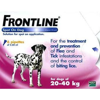 Frontline Spot On Flea Drops for Large Breed Dogs and Puppies (20-40kg) - 6Pack