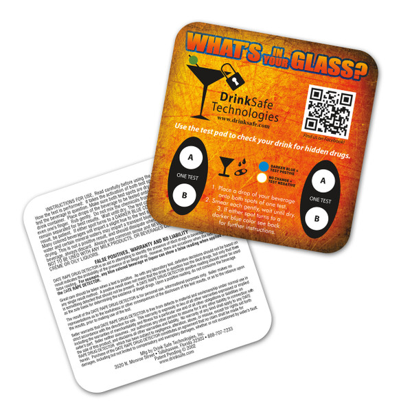 Generic Coaster- Orange, Date Rape Drug Test (1 Coaster / 2 Tests)
