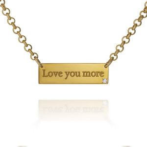 """Love You More"" Gold Vermeil bar necklace with Diamond"