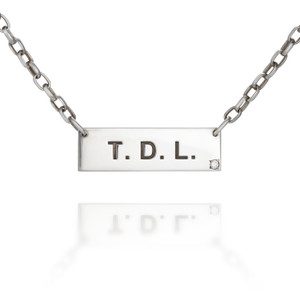 Initial Sterling Silver bar necklace with Diamond