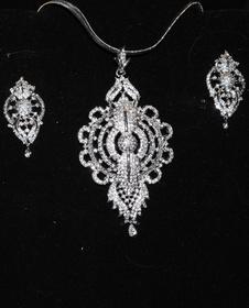 Designer Faux Diamond Necklace Set #D123