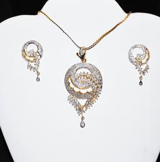 Designer Faux Diamond Necklace Set #D114
