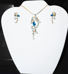 Designer Faux Diamond Necklace Set #D111