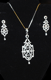 Designer Faux Diamond Necklace Set #D126