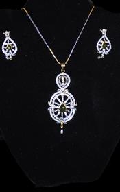 Designer Faux Diamond Necklace Set #D127