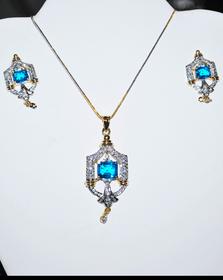 Designer Faux Diamond Necklace Set #D128