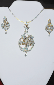 Designer Faux Diamond Necklace Set #D129