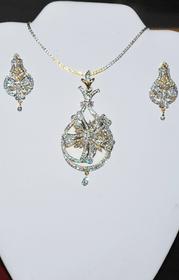 Designer Faux Diamond Necklace Set #D129