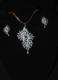 Designer Faux Diamond Necklace Set #D115