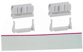 "Qty. 2 Female 2 x 7 IDC Sockets (920-0114-01) with 12"" Long 26 Ribbon wide Cable (920-0120-01)"