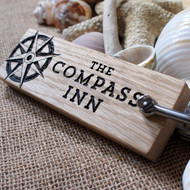 Engraved oak keyrings (19mm thick) available in a variety of sizes