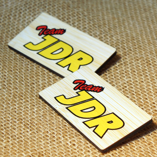 Printed wooden badges with personalised names and company logo, onto 3mm Bamboo.