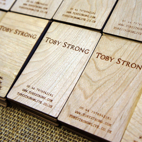 Cam Graphic wooden business cards engraved cherry veneer