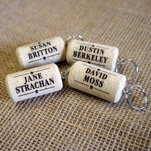 Engraved cork place settings and favours - your guests receive a personalised cork keyring to take home.