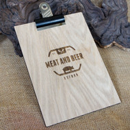 A selection of the sizes, woods and colours of wooden engraved clipboards with bulldog clip
