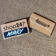 Engraved solid oak badges with self write blackboard / chalkboard area