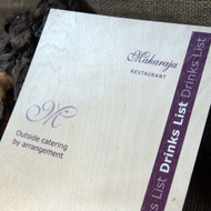 Wooden Printed Menu - onto light stained pine plywood